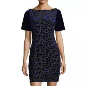 T Tahari Velvet Embroidered Mesh Dress, S